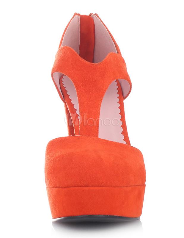 Orange T-Strap Almond Toe Zip Nubuck Women's Chunky Heel Shoes ...