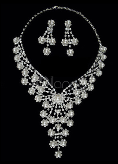 Floral Silver Plated Rhinestone Earrings Necklace Bridal Jewelry Set