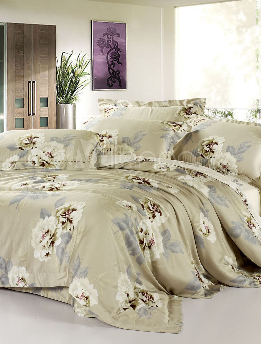 4 pieces high end white flower tencel bedding set. Black Bedroom Furniture Sets. Home Design Ideas