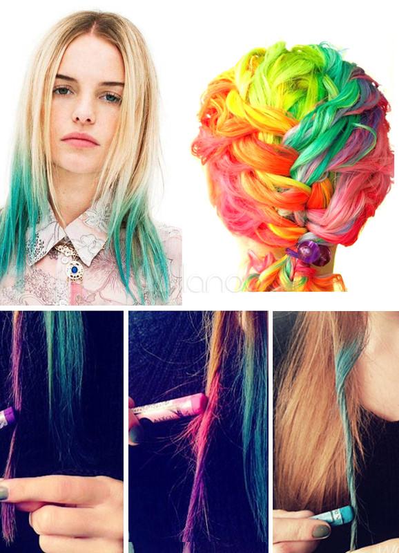12 multicolore couleur craie de cheveux temporaire saine. Black Bedroom Furniture Sets. Home Design Ideas