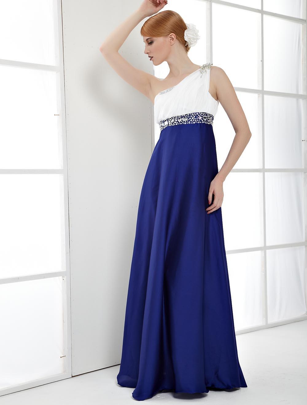 Royal Blue Elastic Woven Satin One Shoulder Prom Dress (Wedding Evening Dresses) photo