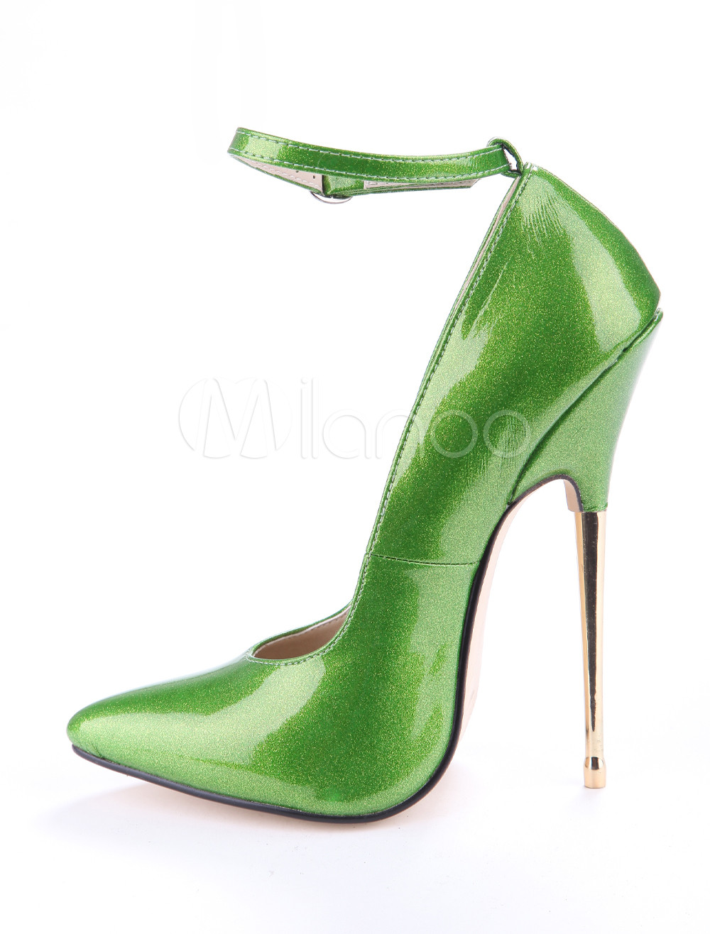 Green Glitter Ankle Strap Patent Leather Women's Sexy High Heels