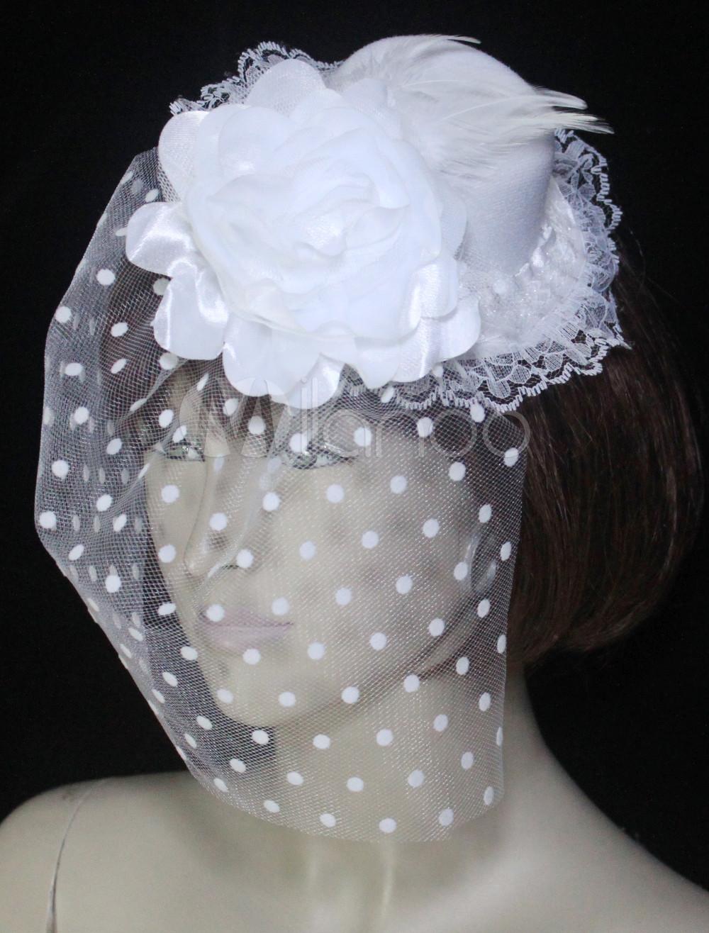 White Corduroy Lace Net Flower Veil Bridal Wedding Hat