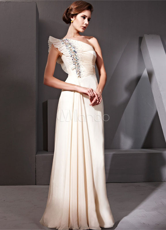 Shaping Daffodil Polyester Silk One Shoulder Prom Dress