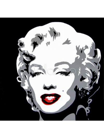 Pop art noir et blanc monroe visage peinture l 39 huile for Peintures en noir et blanc