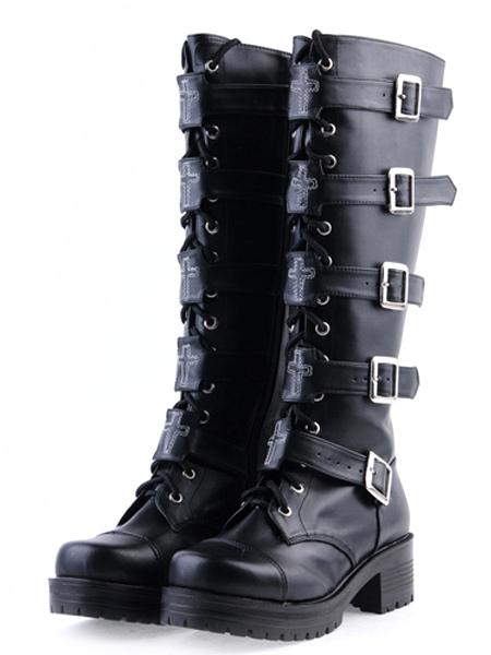 Lolitashow Gothic Black Lolita Boots Square Heels Platform ...