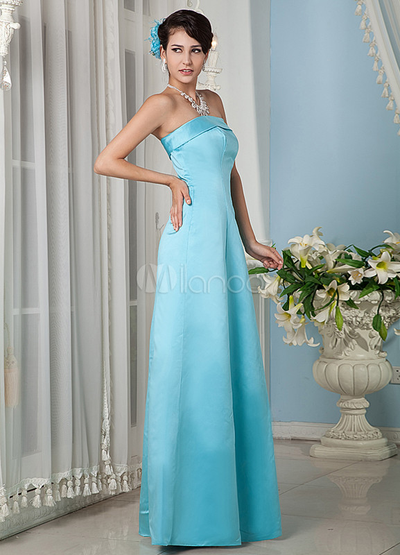 Strapless Satin Light Sky Blue Charming Bridesmaid Dress