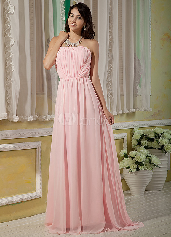 Pink Strapless Floor Length Chiffon Elastic Woven Satin Bridesmaid Dress