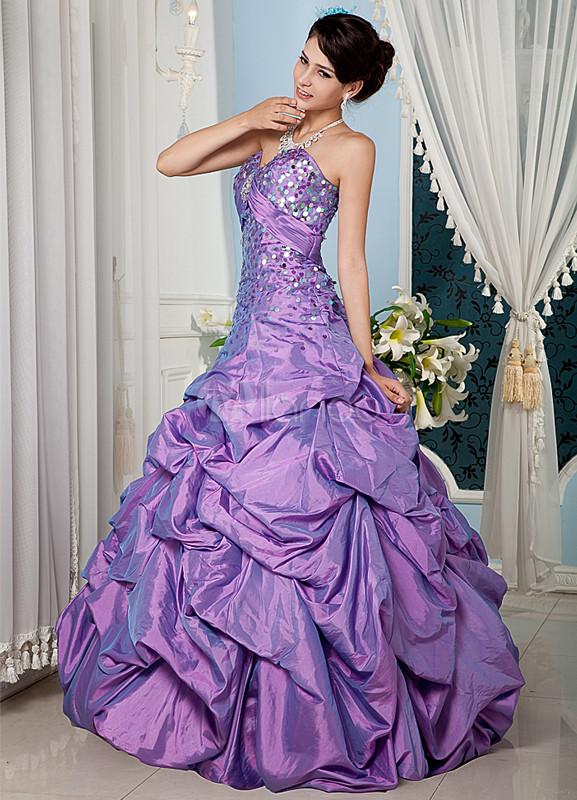 Vestidos de fiesta de Prom de tafetán de color lila con escote de ...