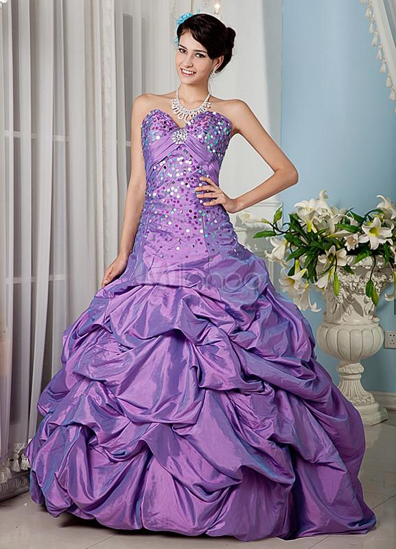 Lilac Beading Sweetheart Taffeta Prom Dress
