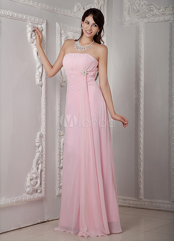 Pink Floor Length A-line Rhinestone Bridesmaid Dress