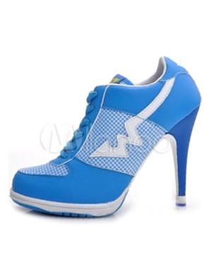 Unique Blue Color Blocking Microfiber High Heel Sneakers