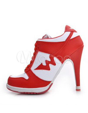 Red Color Blocking Lace Up Microfiber High Heel Sneakers
