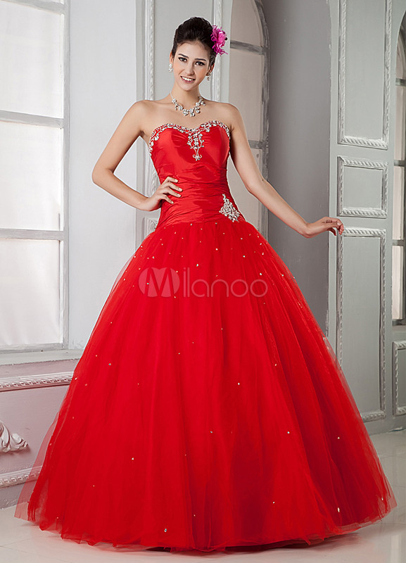 Red Taffeta Applique Sweetheart Women's Quinceanera Dress