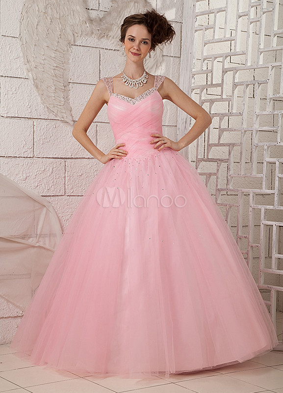 Cute Pink Sweetheart Floor Length Women's Ball Gown