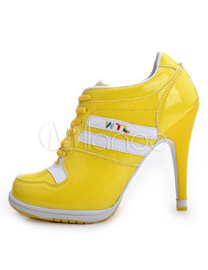 Yellow Lace Up Rubber Sole High Heel Sneakers