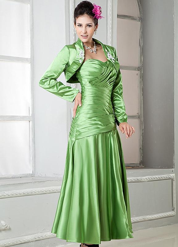 Green Elastic Woven Satin Strapless Sheath Evening Dress (Wedding) photo