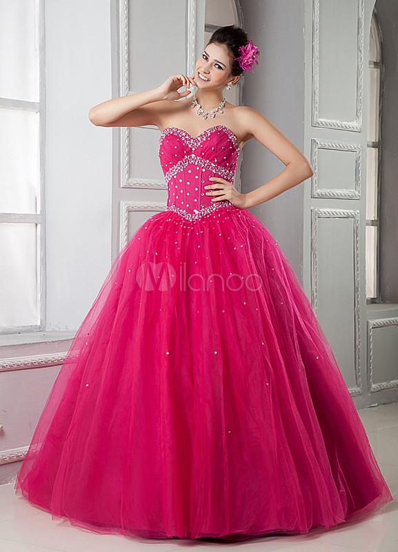 Sweet Fuchsia Beading Sweetheart Quinceanera Dress