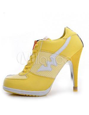 Yellow Color Blocking Lace Up Microfiber High Heel Sneakers