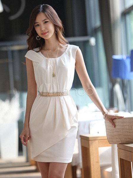 Elegant White Round Collar Chiffon Overlay Shift Dress