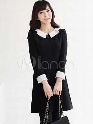 elegantes kleid aus gemischten baumwollen mit bubikragen. Black Bedroom Furniture Sets. Home Design Ideas