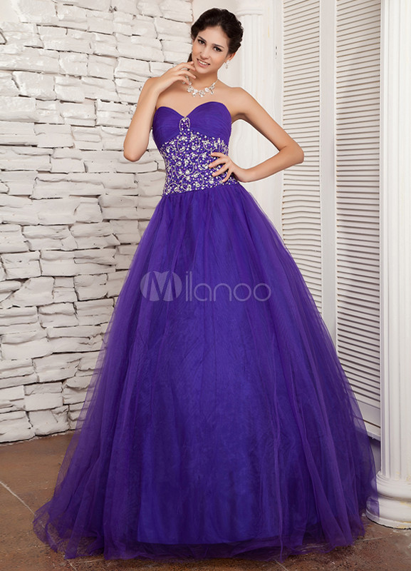 Purple Beading Sweetheart Mesh Satin Prom Dress