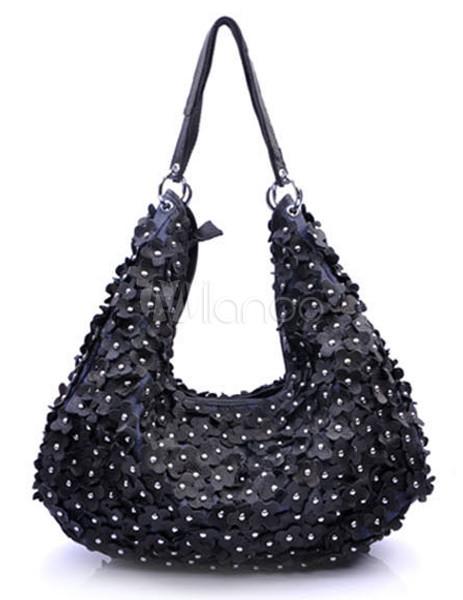 schicke damen handtasche aus echtleder mit blumen. Black Bedroom Furniture Sets. Home Design Ideas