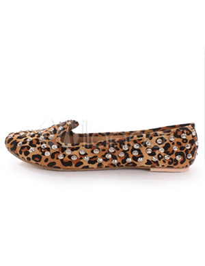 Multi-Color Leopard Studded Faux Leather Woman's Loafers