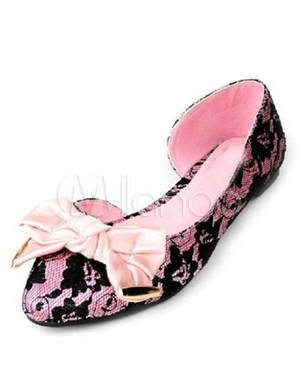 Pink Bow Lace Woman's Ballet Flats