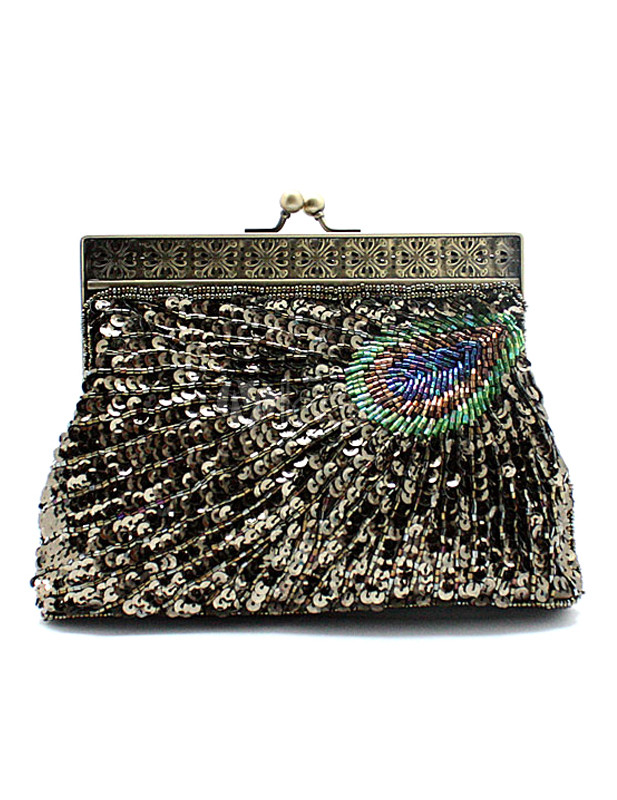 Peacock Feather Pattern Beading Sequin Silk Evening Bag