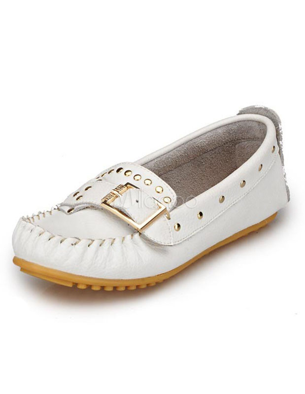 Studded Buckle Cowhide Woman's Loafers