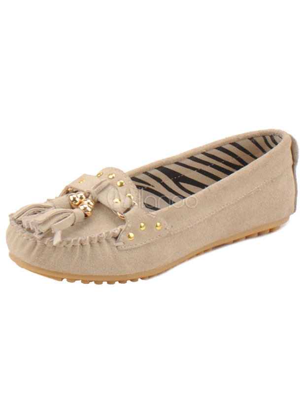 Classic Fringes Studs Cowhide Woman's Loafers