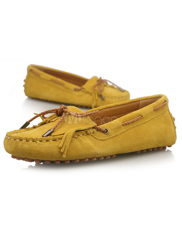 Fringe Ribbon Leather Woman's Loafers