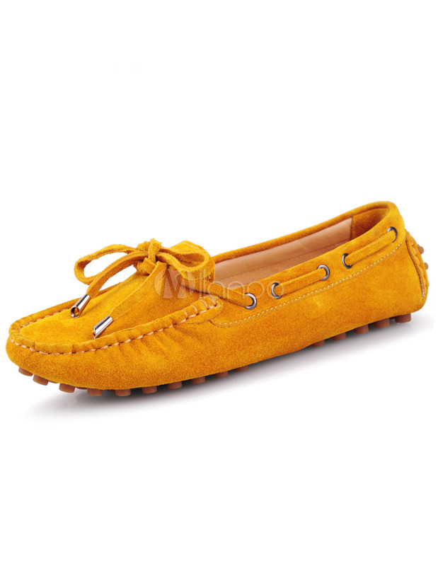 Sweet Lace-Up Cowhide Woman's Loafers