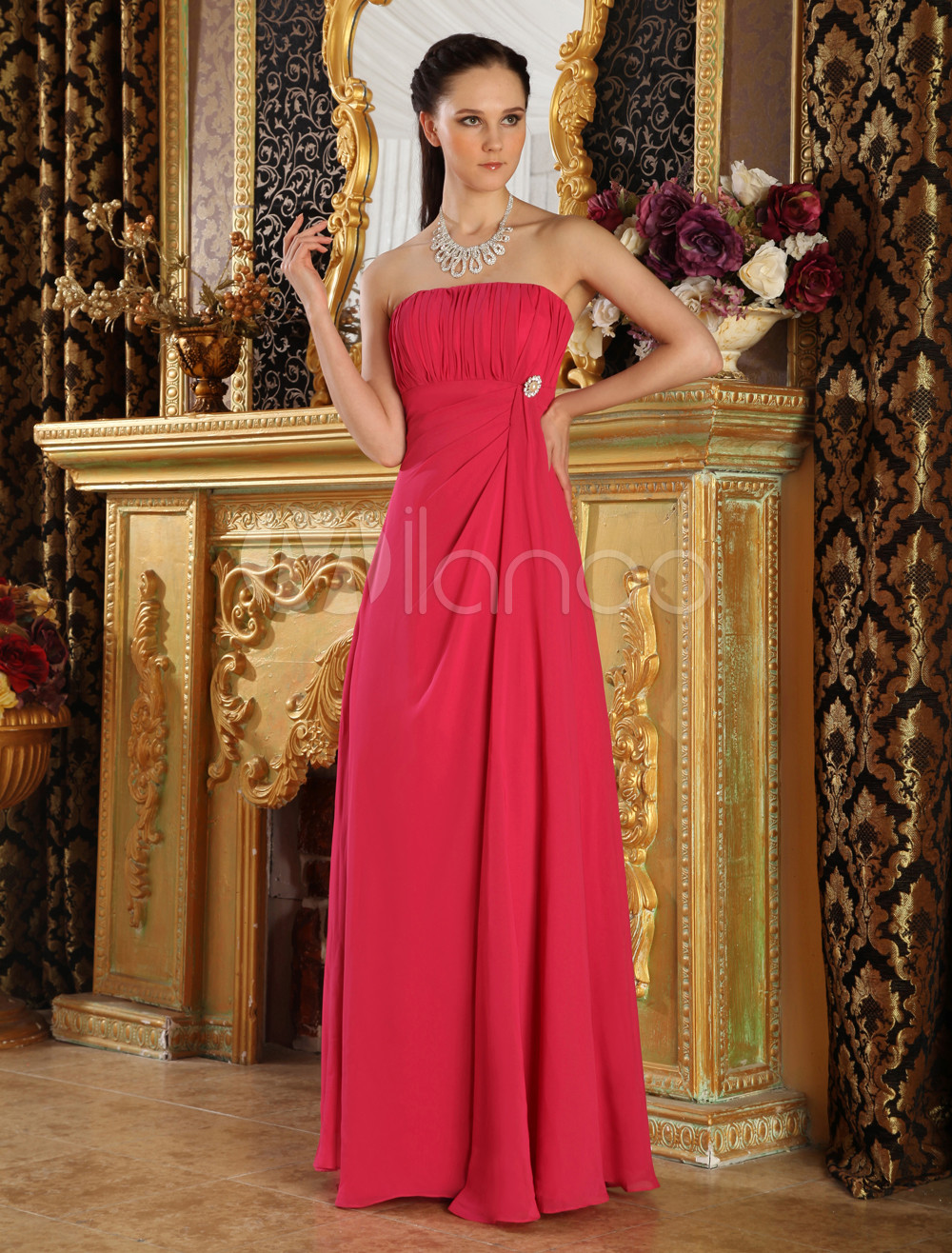 Red Strapless Rhinestone Chiffon Bridesmaid Dress