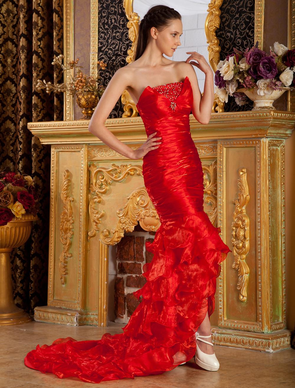 Red Strapless Mermaid Trumpet Beading Tulle Evening Dress (Wedding Evening Dresses) photo