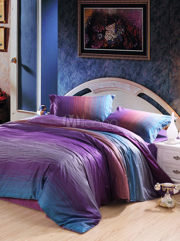 Purple artwork high thread count cotton bedding set for High thread count bed sheets