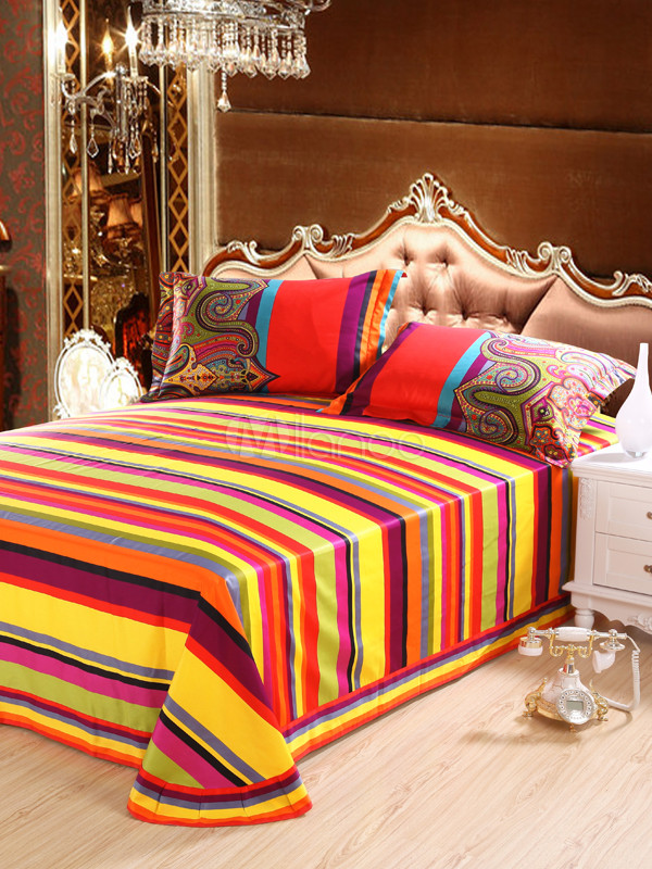 Bohemia printing 4 piece high thread count cotton bedding for High thread count bed sheets