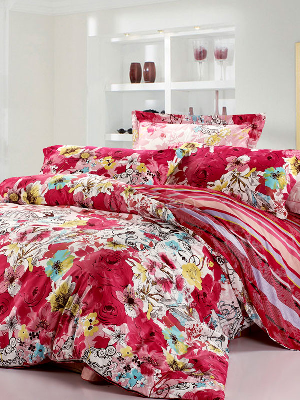 Romantic red flower high thread count cotton bedding set for High thread count bed sheets