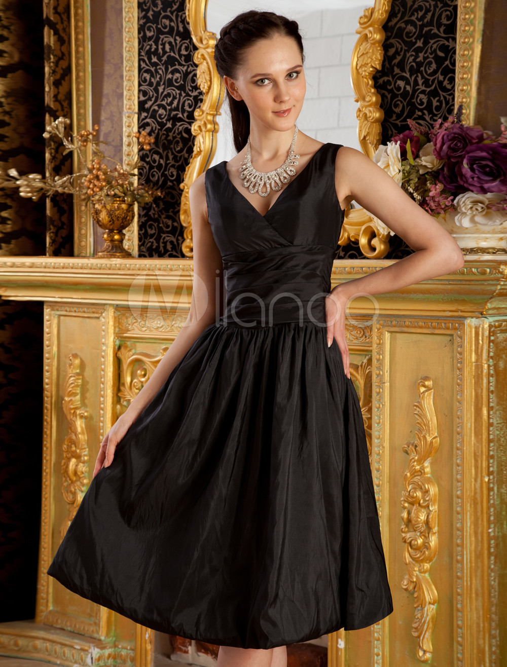 Black V-Neck A-line Pleated Taffeta Bridesmaid Dress