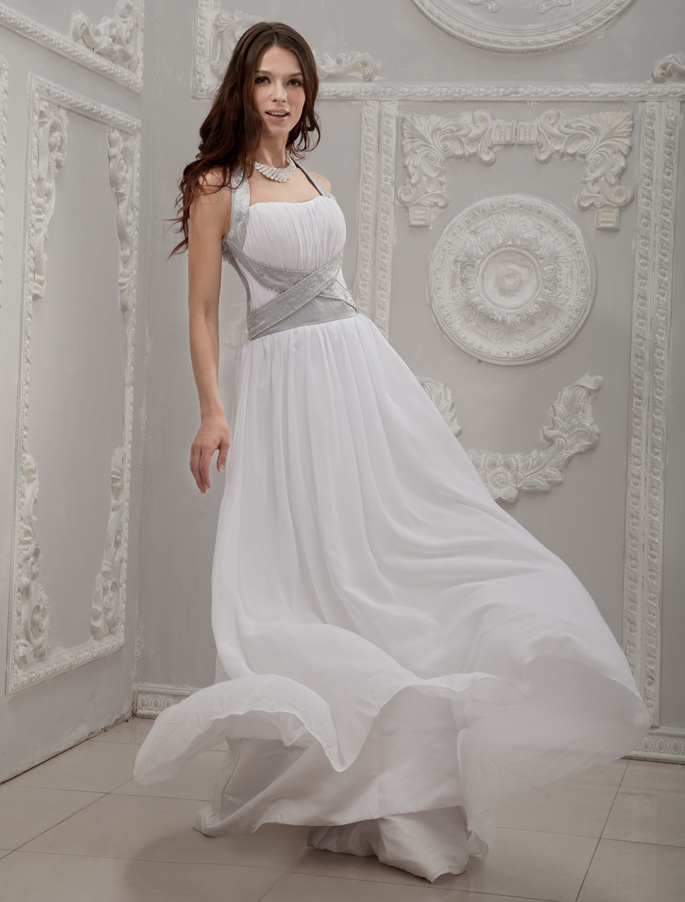 White Halter A-line Beading Chiffon Wedding Dress
