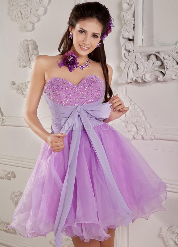 Falda de baile de color lila de organza con escote de corazón de ...