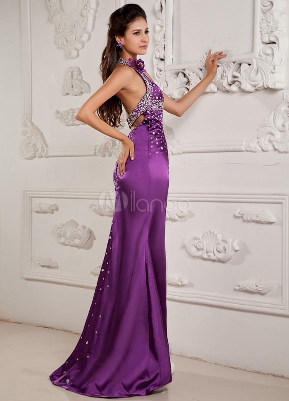Grape Purple Halter Splitting Sequin Elastic Woven Satin Prom Dress