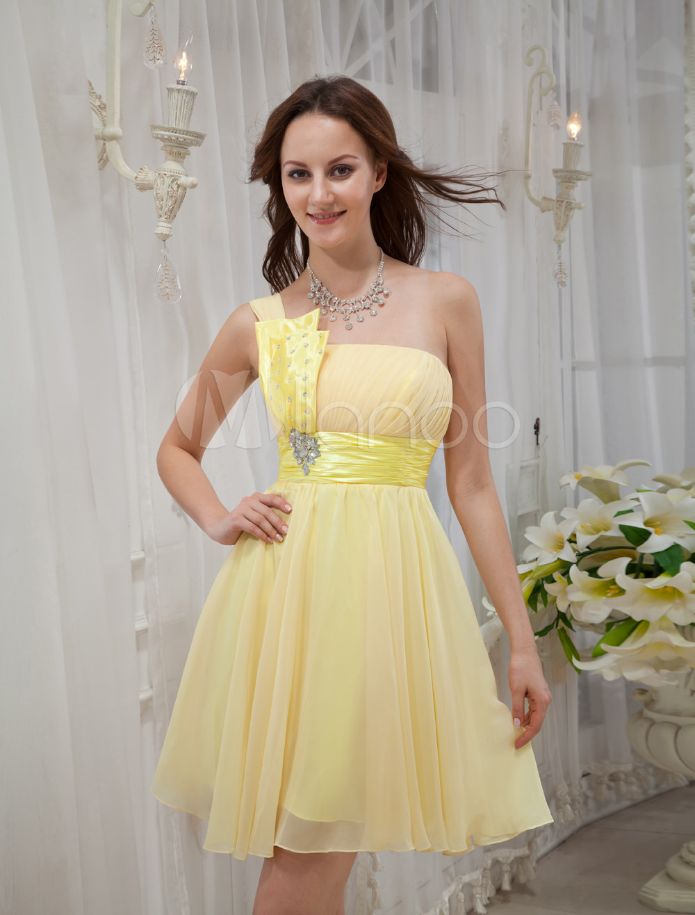 Yellow One-Shoulder Rhinestone Chiffon Prom Dress