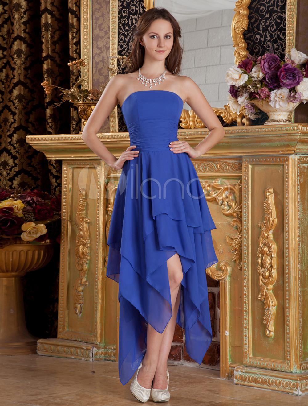Royal Blue Strapless Asymmetrical Trim Chiffon Bridesmaid Dress