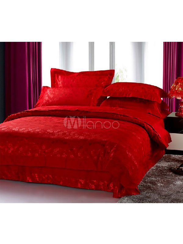 rote blumen 4tlg seide baumwolle bettw sche set. Black Bedroom Furniture Sets. Home Design Ideas