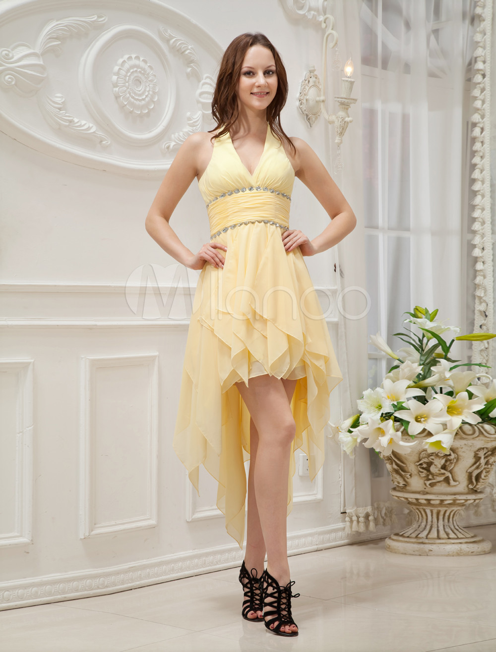 Yellow Halter Asymmetrical Trim Rhinestone Chiffon Prom Dress