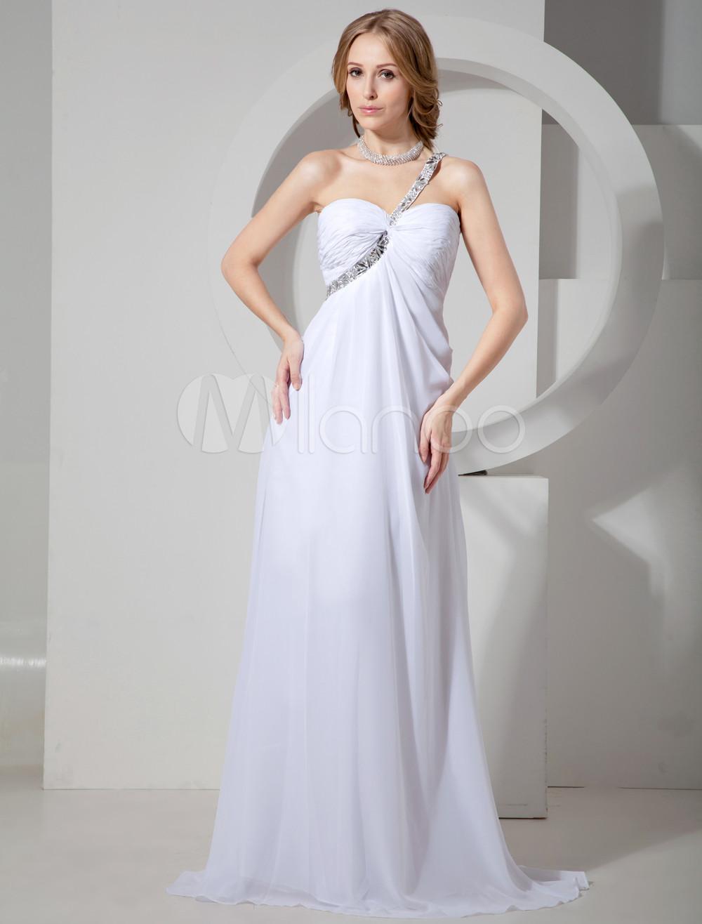 Modern White Chiffon Beading One Shoulder Prom Dress (Wedding Prom Dresses) photo