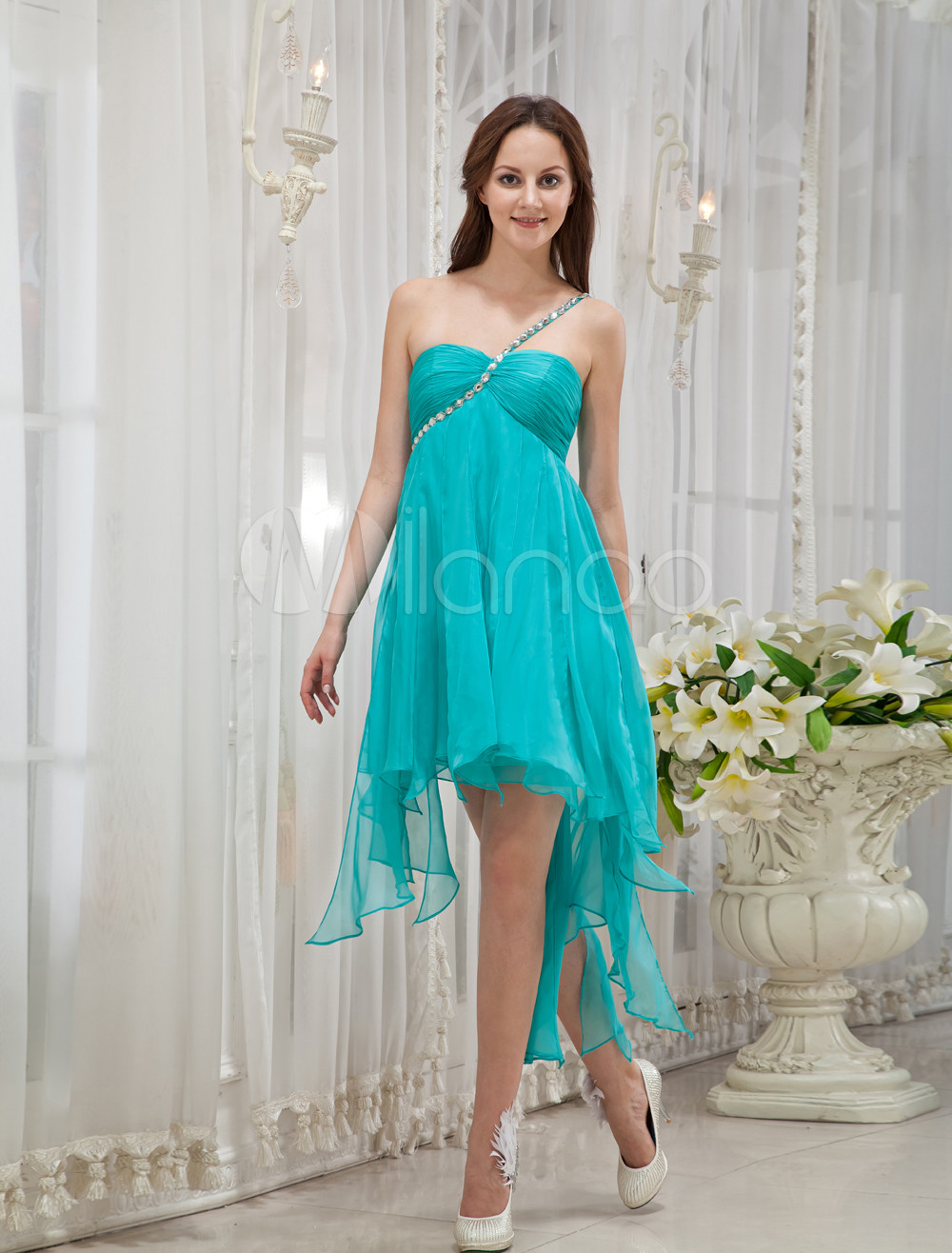Green One-Shoulder Rhinestone Silk Prom Dress (Wedding Prom Dresses) photo