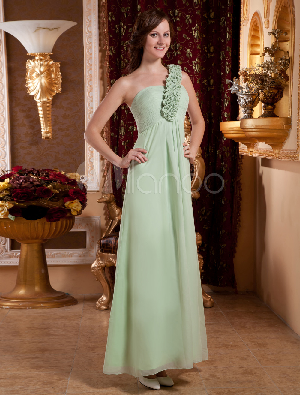 Green Flower One-Shoulder Chiffon Woman's Bridesmaid Dress